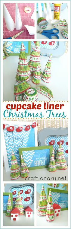 Make cute Christmas trees with cupcake liner... So adorable! #Christmas