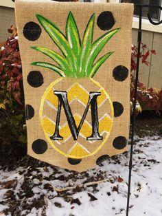 Burlap Garden Flag With Pinapple Chevron Black Polka Dots And Monogram On  Etsy, $20.00