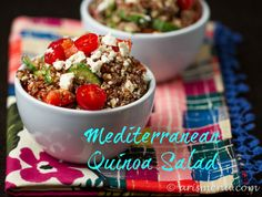 Mediterranean Quinoa Salad - Ari's Menu 1/2 cup dry quinoa 1 large persian cucumber, chopped 1 small 2-2.5 oz can sliced black olives 1/2 cup crumbled feta cheese 2 large red bell peppers, roasted and chopped (or 1 cup chopped roasted red peppers from a jar) 1 cup cherry tomatoes, halved 1 tbsp olive oil 2 tbsp balsamic vinegar generous pinch each salt and pepper