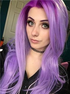 Graduated Lavender Purple Color Long Straight Synthetic Lace Front Wig - All Synthetic Wigs Hair Color Purple, Cool Hair Color, Hair Colors, Bright Hair, Pastel Hair, Lavender Hair, Silk Hair, Synthetic Lace Front Wigs, Grunge Hair