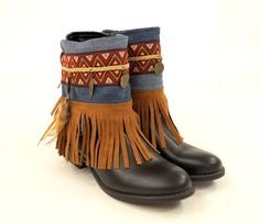 Boho boot covers/Native American denim fringe boot | Etsy Boho Boots, Denim Boots, Fringe Boots, Leather Fringe, Native American Fashion, Boot Cuffs, Happy Shopping, Cover, Bucket Bag