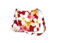 Hawaiian Fabric Tote Flower tote bag White by gypsygirlfashions