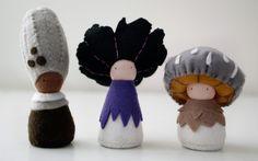 Paddestoel poppetjes/ Natuurlijk vilt/ Guchi Lupa Tinua