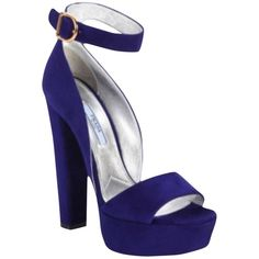 Pre-owned Prada Suede Sandals Cobalt Blue Platforms ($649) ❤ liked on Polyvore featuring shoes, sandals, cobalt blue, thick heel platform sandals, chunky heel platform sandals, suede shoes, prada sandals and rose shoes