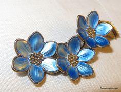 Guilloche Light Blue Enamel Sterling Silver Brooch Pin Goldtone Hans Myhre Norway Scandinavian