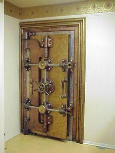 I love the look of Old Vault Doors, wish I had one in my house. Cool Doors, Unique Doors, Industrial Wall Art, Industrial Furniture, Antique Safe, Bank Safe, Safe Door, Safe Vault, Vault Doors