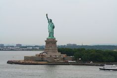Statue of Liberty on a hot, overcast and misty day in July, 2012.