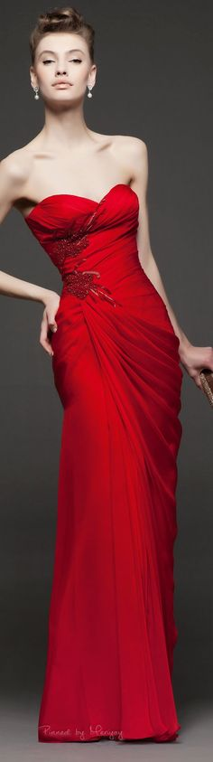 #dresses - Strapless Red Evening Gown with ruched bodice. Elegant Black tie dress for your next formal special occasion. Contact us to see how much it woudl cost to produce a dress liek this. www.dariuscordell.com