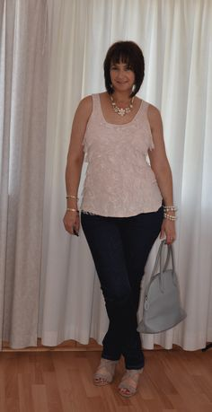 Skinny jeans, lace t-shirt, statement necklace, nude wedge.  #Edgars  #FashionExpress #Identity