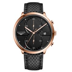 26.08$  Watch more here - http://aiwne.worlditems.win/all/product.php?id=32618647794 - Luxury Brand GUANQIN men watch Big Dial Quartz Watches Sports Wristwatches Waterproof  Designer Leather Strap Hour Clock  Watch