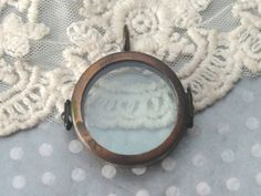 1- Round Glass Locket Small 1 Inch Bronze Keepsake Shadow Box Pendant 2 Pane Glass Trinket Display Terrarium Jewelry Supplies Inv0007 by BuyDiy on Etsy