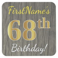 Faux Wood Faux Gold 68th Birthday  Custom Name Square Paper Coaster - wood gifts ideas diy cyo natural