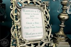 Cute sign for a Tiffany Sweet Sixteen | The Candy Brigade | Candy Buffets | Sweet Sixteen Parties | Tiffany & Co.