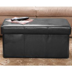 Peabody Folding Leather Storage Ottoman