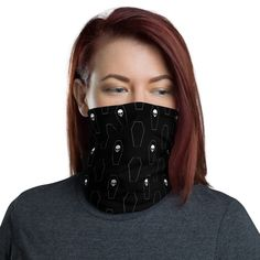 """Skulls and Coffins Pattern Washable Neck Warmer Face Cover Neck Gaiter. Can Be used as an awesome Fashionable Bandana Accesory. Take Care , Stay Safe! Best Wishes from for a better """"restart"""" of the Planet! Together We Stand! Together We Stand, Fish Face, Black Neck, Disney Gift, Lady And The Tramp, Fashion Mask, Neck Warmer, Gift For Lover, Fabric Weights"""