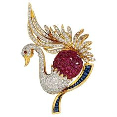Multi-Stone, Diamond, Gold Brooch The brooch features full-cut diamonds weighing a total of approximately - Available at 2016 December 5 Holiday Jewelry. Swan Jewelry, Bird Jewelry, Animal Jewelry, Jewelry Art, Peacock Jewelry, Jewellery, Gold Brooches, Vintage Brooches, Jewelry Armoire