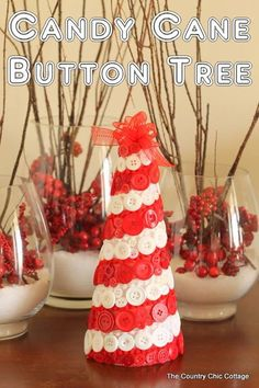 Candy Cane Button Tree Supplies: - Red and white buttons - St...