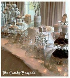 silver wedding ideas and inspiration silver wedding dessert table dessert buffet brides Wedding Candy Table, Wedding Desserts, Wedding Decorations, Wedding Ideas, Wedding Dj, Wedding Poses, Wedding Pictures, Wedding Details, Vase Decorations