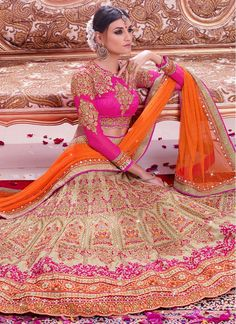 Hot Pink and Orange Art Silk Designer Wedding Lehenga choli