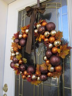 Autumn Wreath with ornaments and leaves - Click image to find more DIY & Crafts Pinterest pins