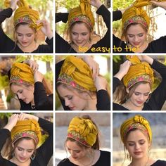 Golden Oasis Half Cover Headscarf Tichel Snood Head Scarf Our new products are already here! Instructions for this beautiful tie. Hair Wrap Scarf, Hair Scarf Styles, Head Wrap Headband, Twist Headband, Cowl Scarf, Chemise Fashion, Mode Turban, African Head Wraps, Scarf Hairstyles