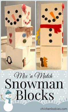 Mix 'n Match Snowman Blocks