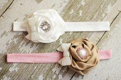 Baby Flower Headband  Baptism Headband  White by NestofManyColors, $9.95
