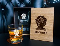 Game of Thrones Personalized whiskey gift set . Coaster and glass and 3 whiskey stones in personalized wood box. Wedding Ring Box, Card Box Wedding, Our Wedding, Whiskey Gift Set, Nightmare Before Christmas Wedding, Handmade Items, Handmade Gifts, Wood Boxes, Coaster
