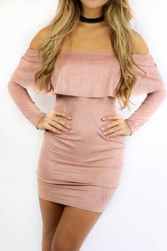 - Dress has ruffle detail at top and is long sleeved - Dress is mauve and suede - Material is Nylon and Spandex - Not Lined - Made in the USA - Long Sleeve Shop the look Bust Length Small 14 29 Medium