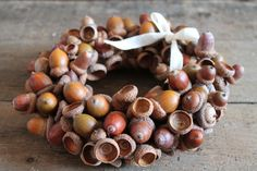 Acorn Wreath. Great idea if you can collect them before the squirrels get them. Lol