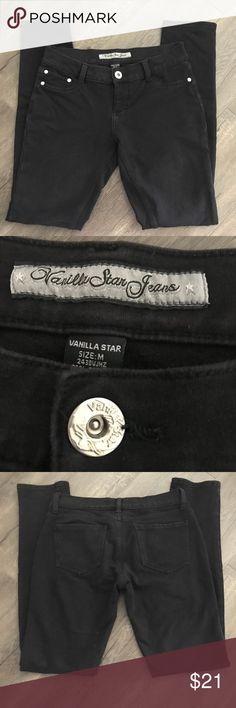 ❗️VANILLA STAR Black Stretchy Pants❗️ ❗️VANILLA STAR Black Stretchy Pants❗️  Super soft and Comfy Size M 97% Cotton 3% Spandex  —All measurements are approx— PWaist laying flat measuring across 14.5 Hips 17 Rise 8 Inseam 30 Leg opening 5.5  POSH AMBASSADOR - HOST PICK SELLER & 5 STAR SELLER   Happy Poshing😊  **Other brands in my closet Brandy Melville, Victoria's Secret, Victoria's Secret Pink, Juicy Couture, True Religion Vanilla Star Pants