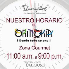 Nuestro Horario en @Oriniokia_Mall de 11AM a 9PM #ZonaGourmet y  recuerda que el horario del mall es de lunes a sábado de 10AM a 8PM y domingos y feriados de 12PM a 8PM.  #SencillamenteDelicioso  #Guayana  #puertoordaz  #gastronomía  #gourmet  #cafe  #desayuno  #almuerzo  #cena  #postres  #catering  #soypuertoordaz  #quehayenpuertoordaz  @dangeloscafe