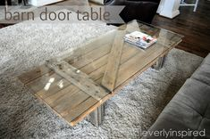 DIY Coffee Table upcyled from a barn door into furniture for your home!