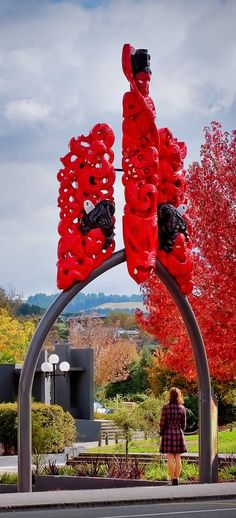 The 9 metre high sculpture is a Waharoa - spiritual entrance that now stands as a gateway to the Taupo War Memorial Cenotaph on Tongariro Street in Taupo, NZ