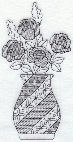 This design features roses in an vase using the intricate patterned-fills of Blackwork embroidery. Motifs Blackwork, Blackwork Cross Stitch, Blackwork Embroidery, Cross Stitching, Cross Stitch Embroidery, Cross Stitch Patterns, Machine Embroidery Designs, Embroidery Patterns, Monochrom