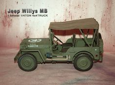 1/6 scale Metal Construction Willys MB U.S. Army Jeep (1/4 ton, 4x4 truck)