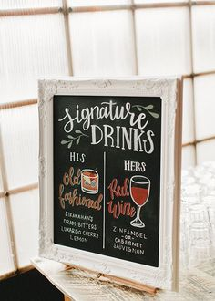 Wedding Signature Drinks bar menu sign with illustrations on chalkboard