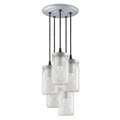 Might be very cool at the top of the stairs- The Ball Jar Multi-Light Chandelier   Barn Light Electric