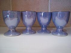 Vintage Set of 4 Blue/Peach Lustre Ware Egg Cups - Japan