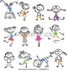 Illustration of Cute happy cartoon doodle kids vector art, clipart and stock vectors. Doodle Art, Doodle Drawings, Easy Drawings, Doodle Kids, Happy Cartoon, Cartoon Faces, Cartoon Kids, Cartoon Drawings, Cartoon Art