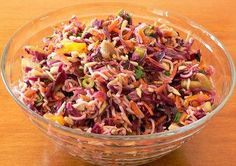 Oriental Ramen Noodle Salad version - made with purple cabbage, bell pepper, celery and altered dressing. Top Ramen Noodles, Ramen Noodle Recipes, Vegetable Recipes, Vegetarian Recipes, Cooking Recipes, Healthy Recipes, Yummy Recipes, Ramen Noodle Cabbage Salad, Noodle Salads
