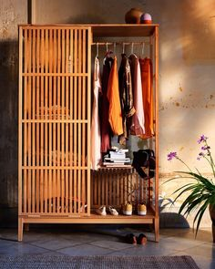 Open Wardrobe, Sliding Wardrobe Doors, Sliding Doors, Curtain Wardrobe Doors, Wardrobe Rack, Scandinavian Furniture, Scandinavian Design, Ideas Armario, Armoire Ikea