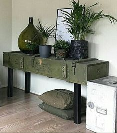 Contemporary console tables are essential to design pieces in any modern interior. This modern furniture is often found in entryways and hallway, the support fo Cheap Basement Remodel, Basement Remodeling, Army Bedroom, Military Bedroom, Army Decor, Gun Rooms, Style Deco, Decoration Inspiration, Decorate Your Room