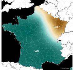 Dans les régions en bleu, le nombre «vingt» se prononce comme du «vin». Dans les régions en marron, on prononce le «t» à la fin du mot!
