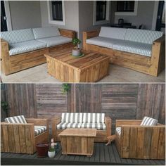 Cool and Easy Shipping Wood Pallet Projects: Wooden pallets are promptly available at all spots. It is a thing which can be utilized again and again. These wooden pallets are so helpful. Pallet Garden Furniture, Outdoor Furniture Plans, Recycled Furniture, Lounge Furniture, Furniture Ideas, Luxury Furniture, Skid Furniture, Lawn Furniture, Furniture Buyers