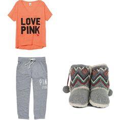 Sexy Pajamas Polyvore   gray peach, pajamas, pink, polyvore, slippers, victoria secret
