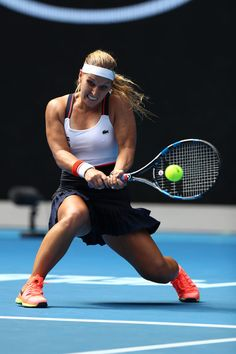 Dominika Cibulkova of Slovakia plays a backhand in her first round match against Denisa Allertova of the Czech Republic on day two of the 2017 Australian Open at Melbourne Park on January 17, 2017 in Melbourne, Australia.