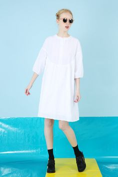 Textured Round Collar Smock Dress White - THE WHITEPEPPER shit i rly want this