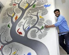4 Gond Artists you should know – TalesOnSilk Tree Of Life Painting, Tree Of Life Art, Trippy Drawings, Art Drawings, Indian Art Paintings, Wall Paintings, Madhubani Art, Painting & Drawing, Mural Painting