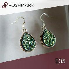 """NWOT Titanium Tear Drop Drusy Earrings Brand New Greenish-Blue Colored Drusy Fish Hook Style Earrings. 1-1/4"""" x 5/8"""" Jewelry Earrings"""